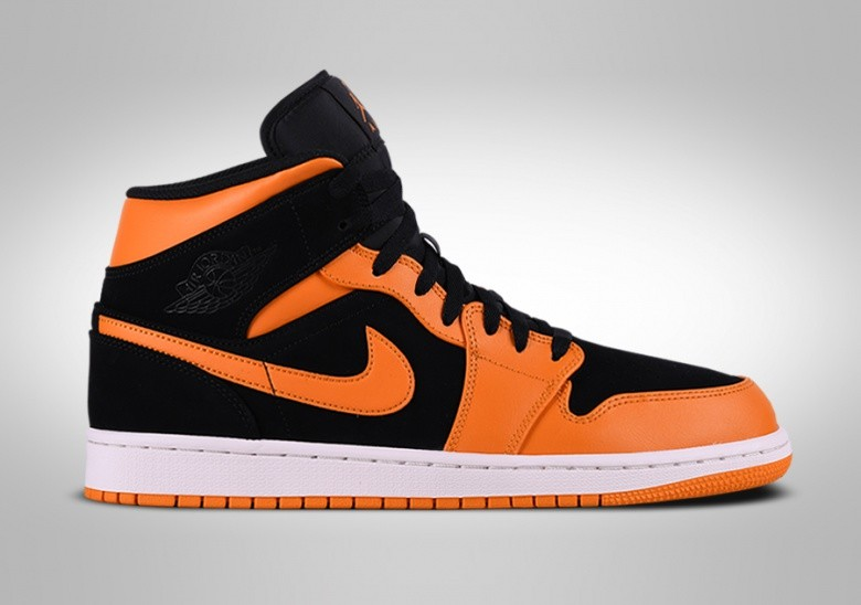 NIKE AIR JORDAN 1 RETRO MID BLACK ORANGE PEEL