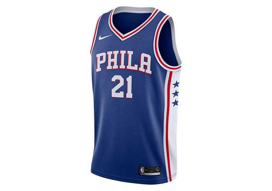 cb068a04a2a NIKE NBA PHILADELPHIA 76ERS JOEL EMBIID ROAD SWINGMAN JERSEY RUSH BLUE
