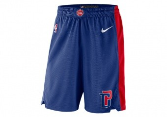 NIKE NBA DETROIT PISTONS SWINGMAN ROAD SHORTS RUSH BLUE