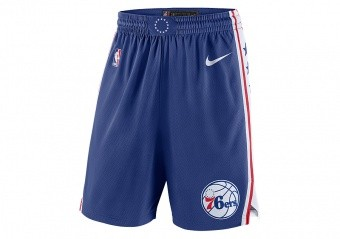 NIKE NBA PHILADELPHIA 76ERS SWINGMAN ROAD SHORTS RUSH BLUE