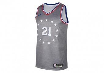 NIKE NBA PHILADELPHIA 76ERS JOEL EMBIID SWINGMAN JERSEY DARK GREY HEATHER