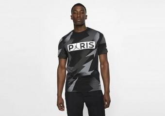 NIKE AIR JORDAN PSG PARIS SAINT-GERMAIN JOCK TAG TEE BLACK
