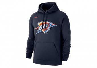 NIKE NBA OKLAHOMA CITY THUNDER CLUB LOGO FLEECE PULLOVER HOODIE COLLEGE NAVY