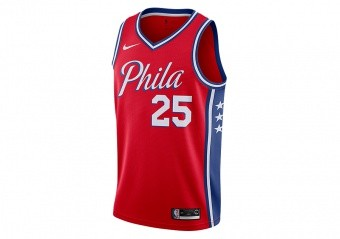 NIKE NBA PHILADELPHIA 76ERS BEN SIMMONS STATEMENT EDITION JERSEY UNIVERSITY RED