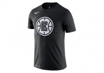 NIKE NBA LOS ANGELES CLIPPERS CITY EDITION LOGO DRI-FIT TEE BLACK