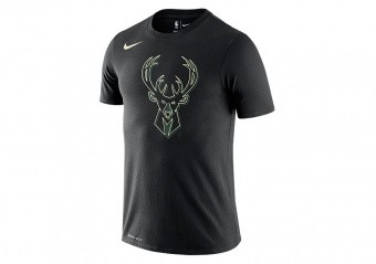 NIKE NBA MILWAUKEE BUCKS LOGO DRI-FIT TEE BLACK