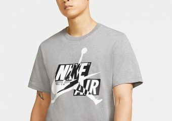 NIKE AIR JORDAN JUMPMAN CLASSICS HBR CREW TEE CARBON HEATHER