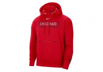 NIKE NBA CHICAGO BULLS COURTSIDE PULLOVER HOODIE UNIVERSITY RED