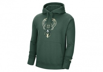 NIKE NBA MILWAUKEE BUCKS ESSENTIAL PULLOVER FLEECE HOODIE FIR