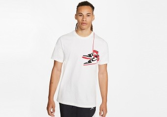 NIKE AIR JORDAN AJ1 SHOE CREW TEE WHITE