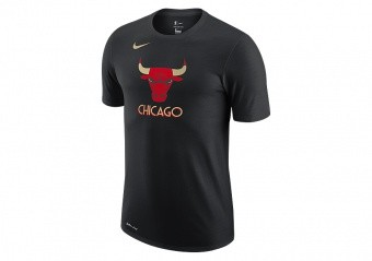 NIKE NBA CHICAGO BULLS CITY EDITION LOGO DRI-FIT TEE BLACK