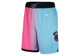 NIKE NBA MIAMI HEAT CITY EDITION 2020 SWINGMAN SHORTS LASER FUCHSIA