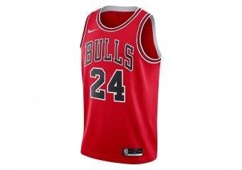 NIKE NBA CHICAGO BULLS LAURI MARKKANEN ICON EDITION SWINGMAN JERSEY UNIVERSITY RED